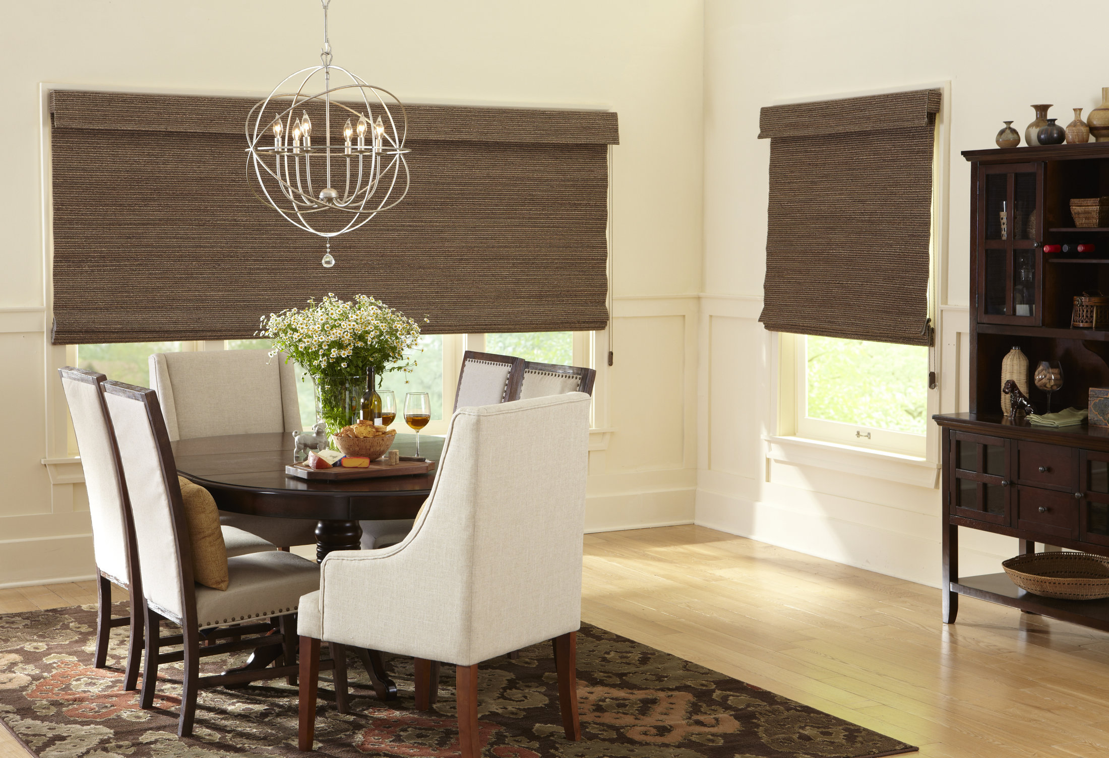Woven woods different styles blinds galore and more for Different dining room styles