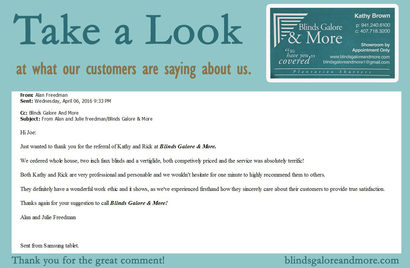 Take A Look Blinds Galore And More